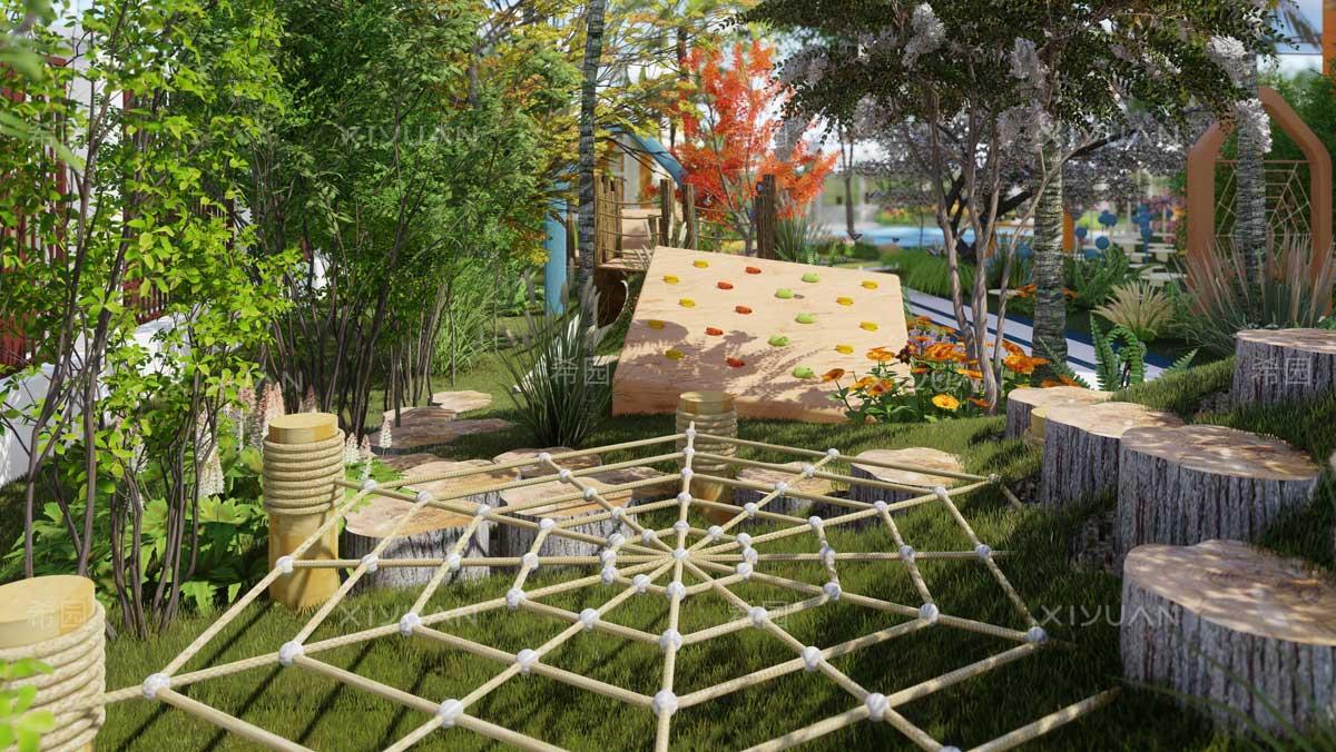 凹地形设计蜘蛛网攀爬设备效果图